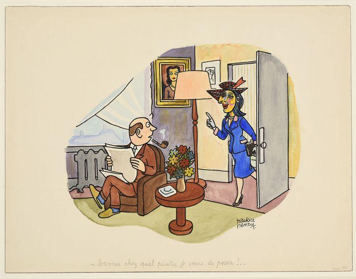 """""""Devine chez quel peintre je viens de poser"""", dessin parMaurice Henry, sans date, musée de Reims. (MAURICE HENRY)"""