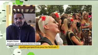 Angelo Gopee déplorait sur franceinfo canal 27 le manque de visibilité pourles organisateurs de festivals sur l'annulation des festivals. (Angelo Gopee, directeur général de Live Nation France)