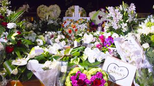 La tombe fleurie de Johnny Hallydayau cimetière de Lorient à Saint-Barthélémy, le 11 décembre 2017. (HELENE VALENZUELA / AFP)