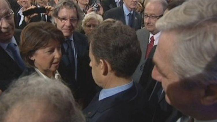 L'échange entre N.Sarkozy et M.Aubry à Lille le 12 janvier 2012 (FTV)