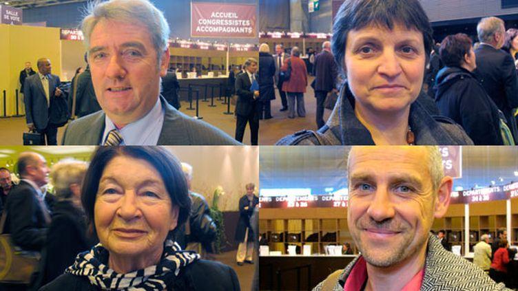 (De gauche à droite) Haut : Louis Dubreil, Michèle Cousse. Bas : Joséphine Martelli et Pascal Laperche : élus de petites communes de France au 94e Congrès de l'Association des maires, mercredi 23 novembre 2011 à Paris. (SALOME LEGRAND / FTVi)