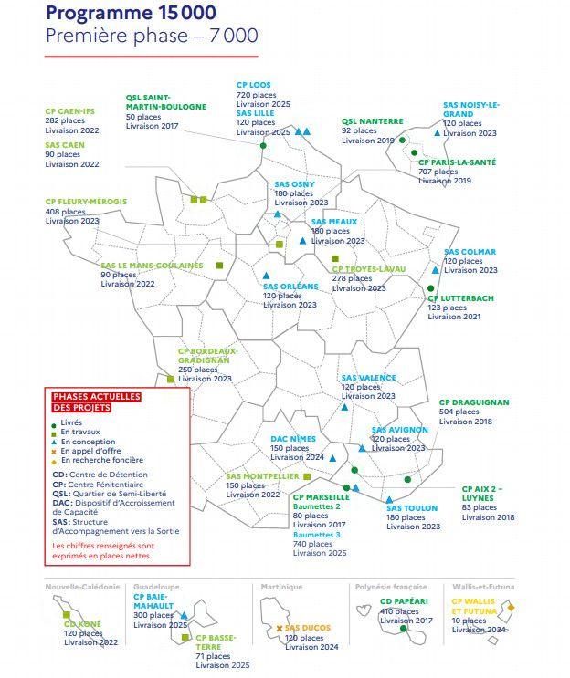 """Carte issue du dossier de presse """"programme 15000"""". (Ministère de la Justice)"""