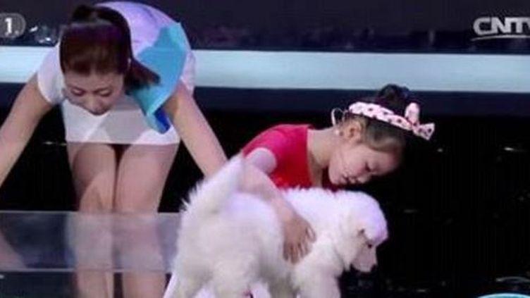 """Capture d'écran montrant la petiteChinoise Han Jiayinglors de l'émission """"Etonnants Chinois"""" sur la chaîneCCTV, le8 août 2015. (NEWSX 24/7 / CCTV / YOUTUBE)"""