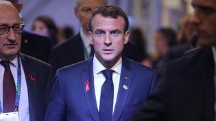 Emmanuel Macron, au sommet du G20 à Buenos Aires (Argentine), le 1er décembre 2018. (LUDOVIC MARIN / AFP)