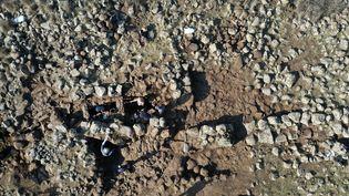 Vue aérienne de fouilles sur le plateau du Golan occupé : les archéologues israéliens ont mis au jour une forteresse datant de 3 000 ans (11 novembre 2020) (MENAHEM KAHANA / AFP)