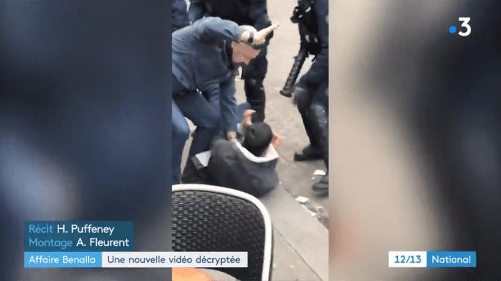 Vincent Crase, lors de l'interpellation de la place de la Contrescarpe, le 1er mai 2018. (FRANCE 3)
