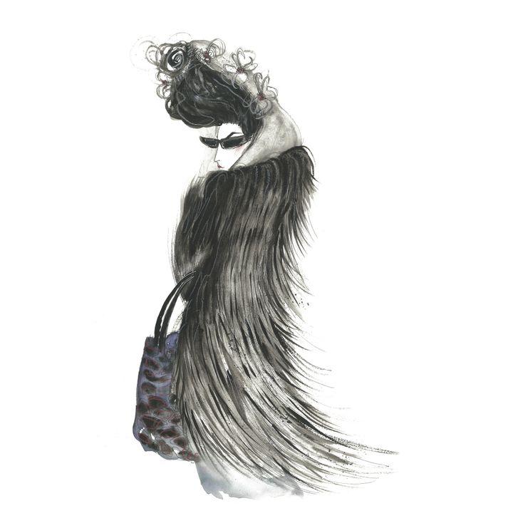 La critique de mode et journaliste Diane Pernet croquée par Leo Greenfield  (Leo Greenfield)