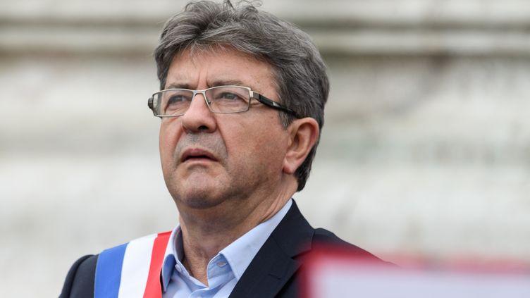 Jean-Luc Mélenchon, président du groupe de La France insoumise à l'Assemblée nationale, le 12 juillet 2017 lors d'une manifestation place de la République, à Paris. (JULIEN MATTIA / NURPHOTO)