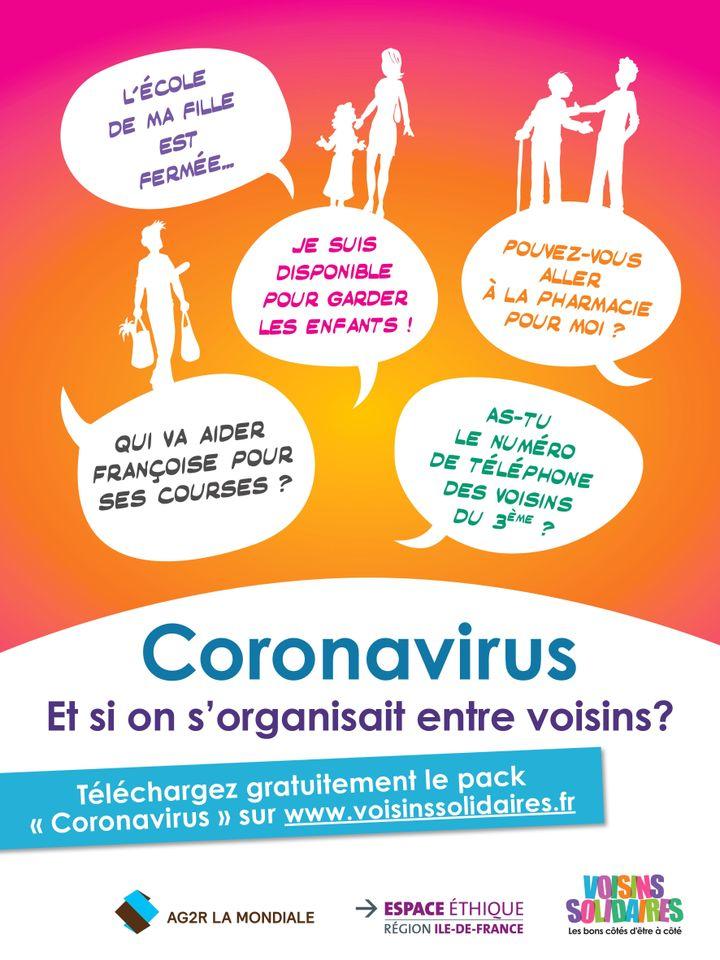 Coronavirus, affiche pour télécharger le kit d'entraide. (VOISINS SOLIDAIRES)