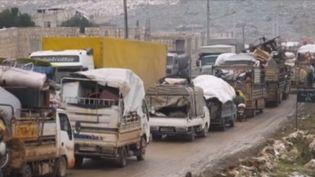 La Syrie fait face à une situation d'urgence humanitaire. En majorité, des femmes et des enfants sont contraints à l'exode. Depuis deux mois, le régime de Bachar al-Assad tente de reconquérir Idlib et sa région. Une offensive qui s'est renforcée ces derniers jours. (FRANCE 3)