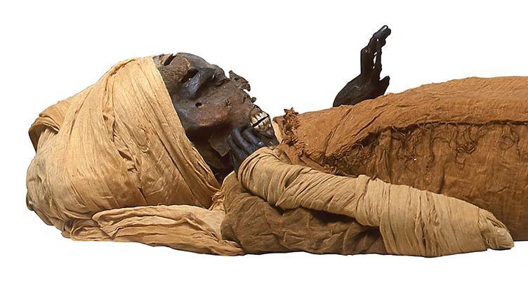 La momie du pharaon Séqénenrê Taa II (1625-1549 avant JC), le 13 février 2021 (- / EGYPTIAN MINISTRY OF ANTIQUITIES)