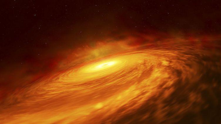 Reproduction artistique d'un trou noir au cœur de la galaxie NGC 3147, publié jeudi 11 juillet 2019. (NASA / ESA / HUBBLE / AFP)