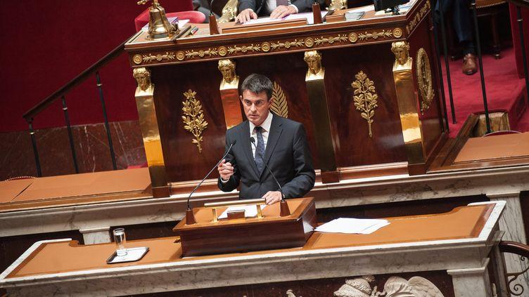 Manuel Valls à la tribune de l'Assemblée nationale, le 24 septembre 2014. (  MAXPPP)