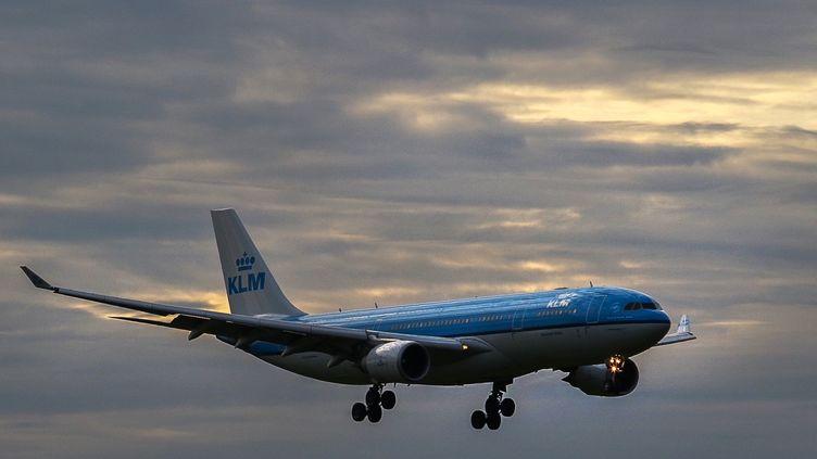 Un avion de la compagnie néerlandaise KLM vole dans le ciel du Brésil, le 31 juillet 2020. (FABIO LIMA / AFP)