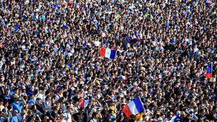Fan zone à Rennes le 10 juillet 2018 lors de France-Belgique, demi-finale de Coupe du monde. (DAMIEN MEYER / AFP)