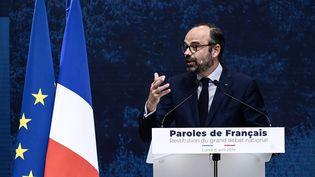 Le Premier ministre, Edouard Philippe, lors de la restitution du grand débat national, lundi 8 avril 2019 au Grand Palais, à Paris. (PHILIPPE LOPEZ / AFP)