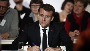 Emmanuel Macron lors de la Conférence citoyenne pour le climat à Paris, le 10 janvier 2020. (YOAN VALAT / POOL / AFP)