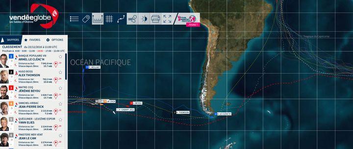 Capture d'écran de la carte interactive du Vendée Globe. On y voit le bateau d'Armel Le Cléac'h au sud de l'Argentine. (VENDEE GLOBE)