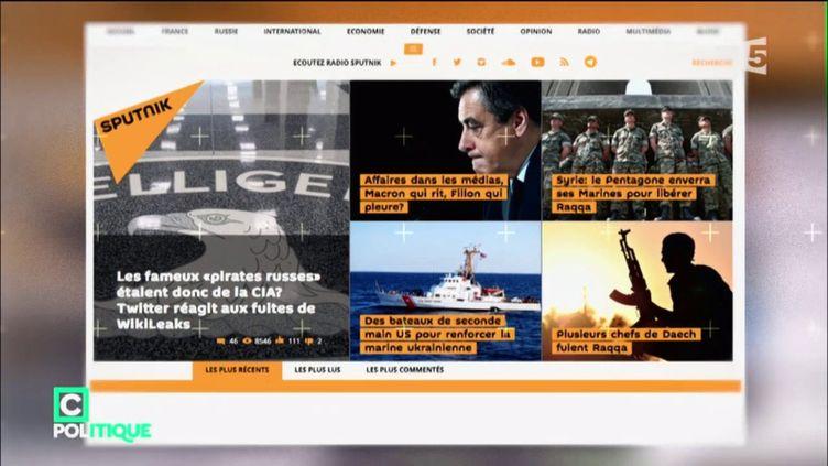 Capture d'écran du site Sputnik. (FRANCE 5)
