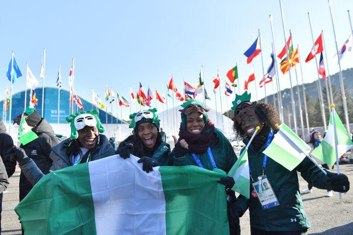 L'équipe nigeriane de bobsleigh et skeleton : Seun Adigun, Ngozi Onwumere, Akuoma Omeoga et Simidele Adeagbo (LOIC VENANCE / AFP)