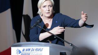 La candidate du Front national, Marine Le Pen, en meeting à Ajaccio (Corse-du-Sud), le 8 avril 2017. (PASCAL POCHARD-CASABIANCA / AFP)