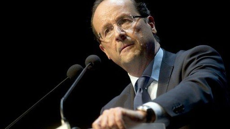 François Hollande, lors de son meetinf au Bourget, le 22 janvier 2012. (AFP - Fred Dufour)
