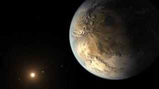Vue d'artiste de Kepler-186f, quise trouve dans un système stellaire situé à 490 années-lumière du Soleil. (AMES / JPL-CALTECH / T. PYLE / NASA)