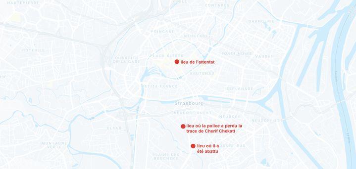 Chérif Chekatt, l'auteur de l'attentat du marché de Noël à Strasbourg, a été tué par les forces de l'ordrele 13 décembre 2018 dans le quartier duNeudorf. (GOOGLE MAPS / FRANCEINFO)