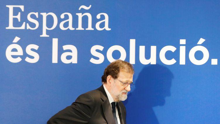 Mariano Rajoy le 18 décembre 2017 à Barcelone. (ERIC GAILLARD / REUTERS)