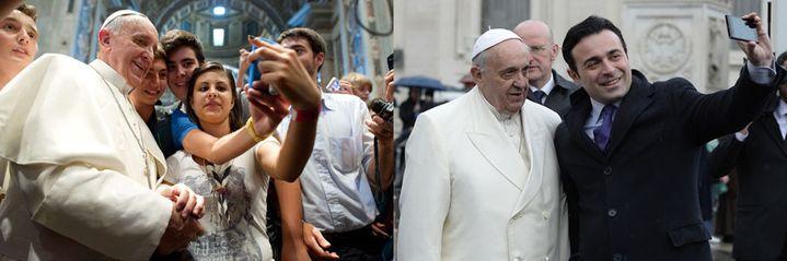 Le pape François pose avec des fidèles. (AP / SIPA / AFP)