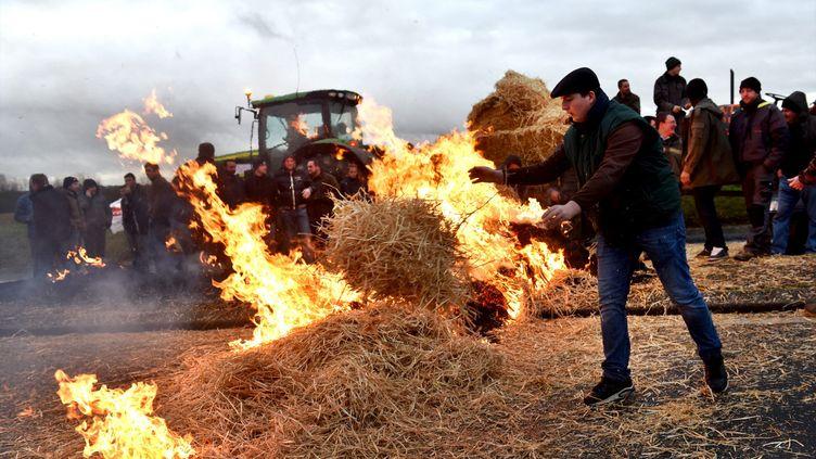 Des agriculteurs manifestent près de Bourges (Cher), le 12 février 2016. (MAXPPP)