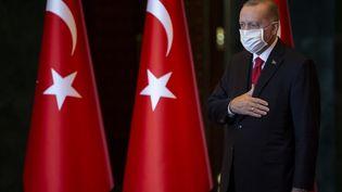 Le président turc, Recep Tayyip Erdogan, lors du 97e anniversaire de la République turque, le 29 octobre 2020. (AYTAC UNAL / ANADOLU AGENCY / AFP)