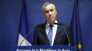 Le procureur de la République, François Molins, lors d'un point presse, le 26 mars à Paris, sur les attentats de l'Aude. (FRANCOIS GUILLOT / AFP)