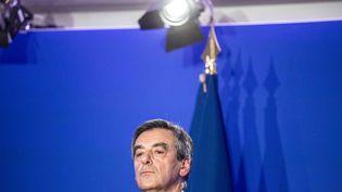 Le candidat de la droite à l'élection présidentielle, François Fillon, lors d'une conférence de presse à Paris, le 6 février 2017. (HAMILTON / REA)
