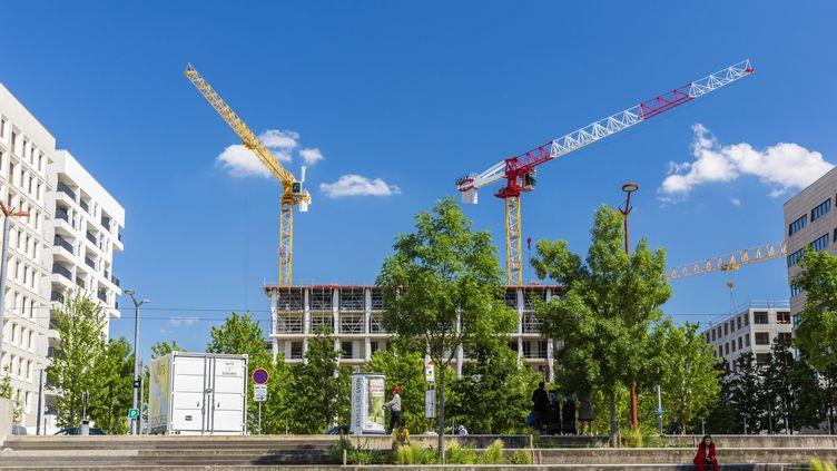 Un chantier, à Lyon (Rhône), en 2019. (JACQUES PIERRE / HEMIS.FR / AFP)