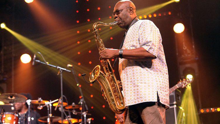 Manu Dibango au festival Jazz in Marciac le 10 août 2017 (FERNAND FOURCADE / SIPA)
