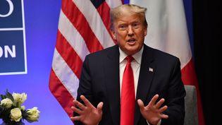 Donald Trumplors d'une rencontre avec le Premier ministre italien,Giuseppe Conte, le 4 décembre 2019, àWatford, au Royaume-Uni. (NICHOLAS KAMM / AFP)