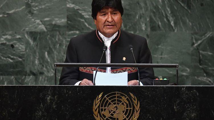 Le président bolivien Evo Morales aux Nations Unis à New York, le 26 septembre 2018. (ANGELA WEISS / AFP)
