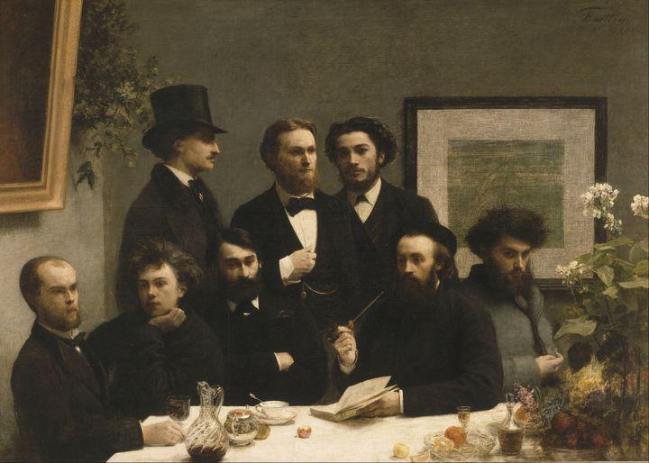"""""""Coin de table"""", tableau deHenri Fantin-Latour (1836–1904), représentant Rimbaud et Verlaine, en bas à gauche du tableau (WIKIMEDIA COMMONS)"""