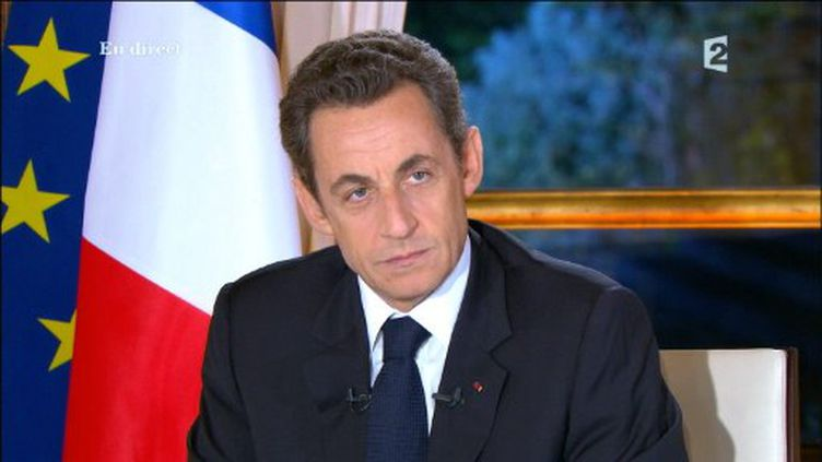 Interview télévisée de Nicolas Sarkozy en direct de l'Elysée, le 16 novembre 2010, sur France 2, TF1 et Canal Plus (FRANCE 2 / AFP)