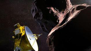 Illustration d'artiste fournie par la Nasa le 21 décembre 2018 représentant la sonde New Horizons et l'objet Ultima Thule. (NASA / JHUAPL / SWRI / AFP)