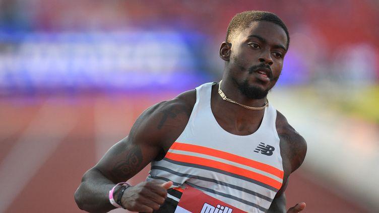 Le favori américain du 100 mètres Trayvon Bromell lors d'un meeting en juin 2021. (OLI SCARFF / DIAMOND LEAGUE AG)