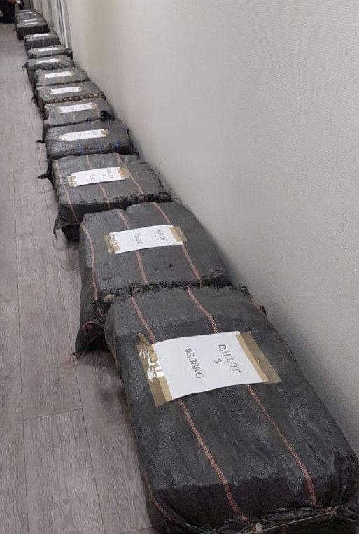Plus d'une tonne de cocaïne a été saisie dans le port du Havre (Seine-Maritime), dans la nuit du lundi 12 au mardi 13 août 2019. (DOUANE FRANCAISE)