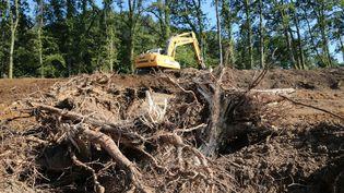 Des fouilles dans l'affaire Estelle Mouzin à Issancourt-et-Rumel dans les Ardennes, le 3 septembre 2021. (FRANCOIS NASCIMBENI / AFP)