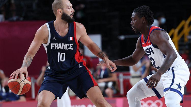 Evan Fournier lors de la finale entre la France et les États-Unis, le 7 août (THOMAS COEX / AFP)