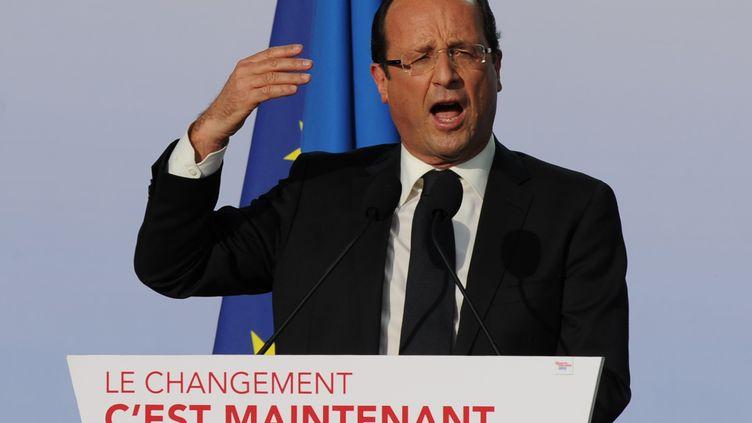 François Hollande lors de la campagne présidentielle, le 3 mai 2012 à Toulouse (Haute-Garonne). (ERIC CABANIS / AFP)