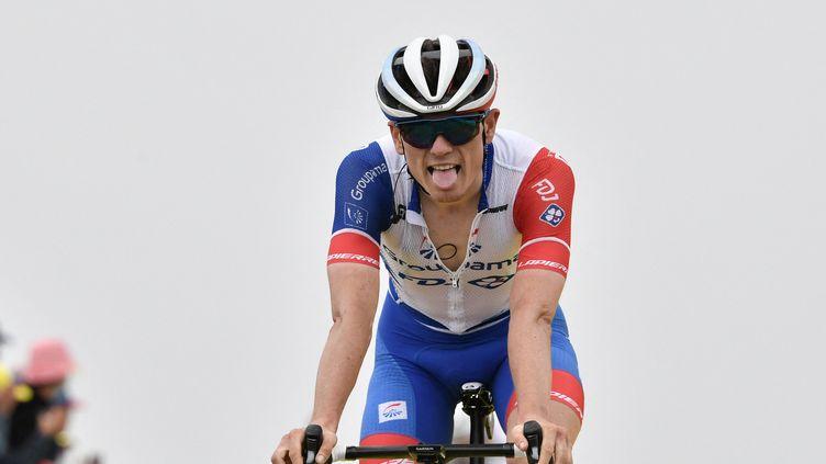 David Gauduà l'arrivée de la 17e étape du Tour de France, le 14 juillet 2021. (PHILIPPE LOPEZ / AFP)