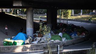 Des migrants ont installé des tentes près du périphérique dans le nord de Paris, le 27 juin 2019. (JOEL SAGET / AFP)