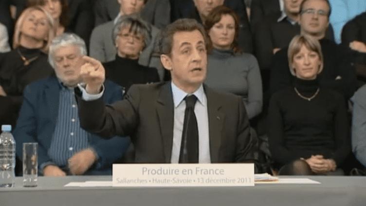 Nicolas Sarkozy en déplacement à Sallanches (Haute-Savoie), mardi 13 décembre 2011. (FRANCE TÉLÉVISIONS)