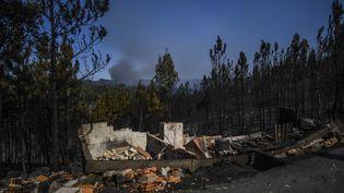 Les ruines d'une maison détruite par le feu à Macao, dans le centre du Portugal, le 21 juillet 2019. (PATRICIA DE MELO MOREIRA / AFP)